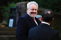 Pictured: Carwyn Howell Jones, First Minister of Wales arrives at Llandaff Cathedral, Cardiff, Wales, UK.  Sunday 11 November 2018<br /> Re: Commemoration for the 100 years since the end of the First World War on Remembrance Day at the Llandaff Cathedral, in Llandaff, Cardiff, Wales, UK.