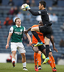 Eiji Kawashima saves for Dundee Utd as Jason Cummings challenges