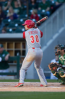 Jake Fincher (30) of the North Carolina State Wolfpack at bat against the Charlotte 49ers at BB&T Ballpark on March 31, 2015 in Charlotte, North Carolina.  The Wolfpack defeated the 49ers 10-6.  (Brian Westerholt/Four Seam Images)