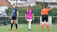 Charlotte Laridon (15 Brugge) pictured in a reaction with referee Irmgard Van Meirvenne during a female soccer game between Club Brugge Dames YLA and Eendracht Aalst Ladies on the 9 th matchday of the 2020 - 2021 season of Belgian Scooore Womens Super League , saturday 12 December 2020  in Brugge , Belgium . PHOTO SPORTPIX.BE | SPP | DAVID CATRY