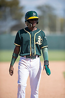 Oakland Athletics second baseman Marcos Brito (5) during an Instructional League game against the Chicago White Sox at Lew Wolff Training Complex on October 5, 2018 in Mesa, Arizona. (Zachary Lucy/Four Seam Images)