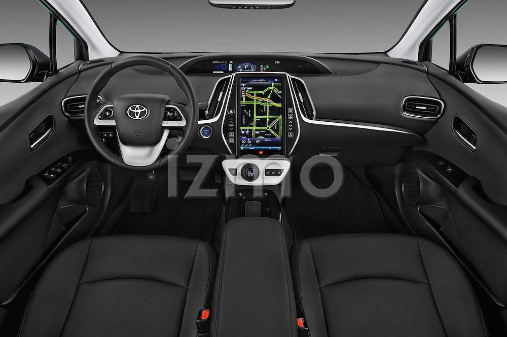 Stock photo of straight dashboard view of 2017 Toyota PRIUS PRIME Four 5 Door Hatchback
