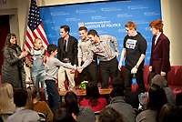 Admirer 9 year old Noah is greeted by # Never Again Parkland Students from Marjory Stoneman Douglas High School speaking on changing gun policies,student activism and politics at the Institute of Politics at Harvard, Cambridge MA 3.20.18