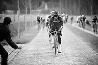 Greg Van Avermaet (BEL/BMC) leading the peloton over the last cobbles of the day<br /> <br /> 71st Dwars door Vlaanderen (1.HC)