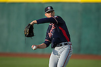Rome Braves starting pitcher Mike Soroka (54) warms up in the outfield prior to the game against the Hickory Crawdads at L.P. Frans Stadium on May 12, 2016 in Hickory, North Carolina.  The Braves defeated the Crawdads 3-0.  (Brian Westerholt/Four Seam Images)