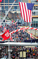 31 March 2011: Washington Nationals fans arrive at the Center Field Gate on Opening Day, prior to a game between the Washington Nationals and the Atlanta Braves at Nationals Park in Washington, District of Columbia. The Braves shut out the Nationals 2-0 to open the 2011 Major League Baseball season. Mandatory Credit: Ed Wolfstein Photo