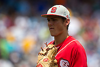 North Carolina State Wolfpack shortstop Trea Turner #8 looks on during Game 3 of the 2013 Men's College World Series between the North Carolina State Wolfpack and North Carolina Tar Heels at TD Ameritrade Park on June 16, 2013 in Omaha, Nebraska. The Wolfpack defeated the Tar Heels 8-1. (Brace Hemmelgarn/Four Seam Images)