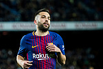 Jordi Alba Ramos of FC Barcelona reacts during the Copa Del Rey 2017-18 Round of 16 (2nd leg) match between FC Barcelona and RC Celta de Vigo at Camp Nou on 11 January 2018 in Barcelona, Spain. Photo by Vicens Gimenez / Power Sport Images