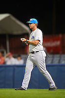 Hudson Valley Renegades pitching coach Brian Reith (46) walks to the mound during a game against the Batavia Muckdogs on August 1, 2016 at Dwyer Stadium in Batavia, New York.  Hudson Valley defeated Batavia 5-1.  (Mike Janes/Four Seam Images)