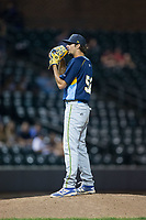 Myrtle Beach Pelicans relief pitcher Kyle Miller (52) looks to his catcher for the sign against the Winston-Salem Dash at BB&T Ballpark on May 11, 2017 in Winston-Salem, North Carolina.  The Pelicans defeated the Dash 9-7.  (Brian Westerholt/Four Seam Images)