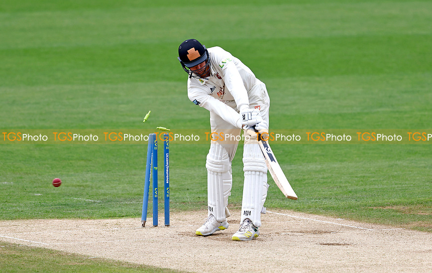 Bailey Wightman of Kent is bowled by Jamie Atkins during Kent CCC vs Sussex CCC, LV Insurance County Championship Group 3 Cricket at The Spitfire Ground on 13th July 2021