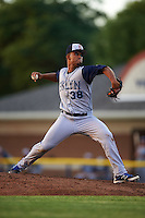 Brooklyn Cyclones starting pitcher Merandy Gonzalez (38) during a game against the Batavia Muckdogs on July 4, 2016 at Dwyer Stadium in Batavia, New York.  Brooklyn defeated Batavia 5-1.  (Mike Janes/Four Seam Images)