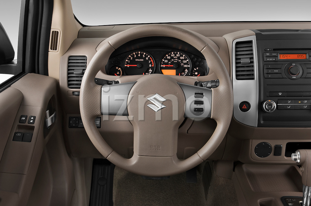 Steering wheel view of a 2009 Suzuki Equator Extended Cab