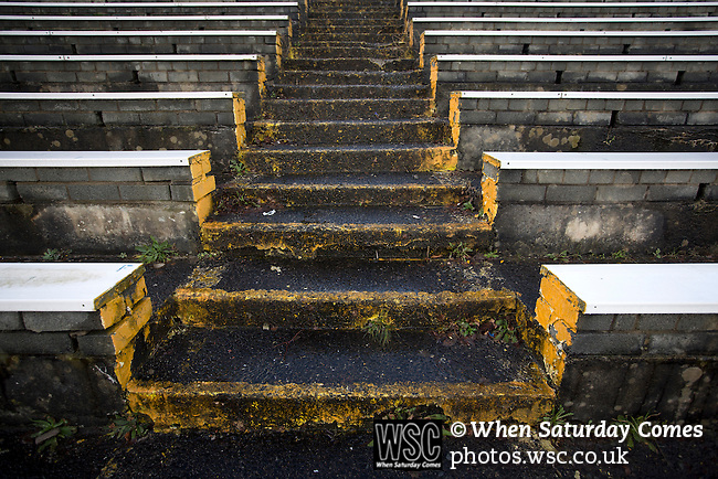 Greenock Morton 2 Stranraer 0, 21/02/2015. Cappielow Park, Greenock. Weeds growing on the traditional away end of the stadium, pictured before Greenock Morton take on Stranraer in a Scottish League One match at Cappielow Park, Greenock. The match was between the top two teams in Scotland's third tier, with Morton winning by two goals to nil. The attendance was 1,921, above average for Morton's games during the 2014-15 season so far. Photo by Colin McPherson.