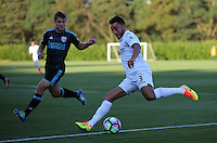 Pictured: Neil Taylor of Swansea (R) Monday 15 August 2016<br /> Re: Swansea City FC U23 v West Bromwich Albion at Landore training ground, Swansea, Wales, UK