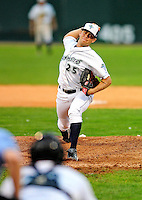 21 August 2010: Vermont Lake Monsters' pitcher Colin Bates on the mound against the Brooklyn Cyclones at Centennial Field in Burlington, Vermont. The Cyclones defeated the Lake Monsters 8-7 in a 12-inning game that had to be resumed in Brooklyn on August 31 due to late inning rain. Mandatory Credit: Ed Wolfstein Photo