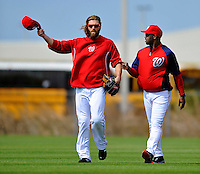 25 February 2012: Washington Nationals' outfielder Jayson Werth chats with third base coach Bo Porter (right) during the first full squad Spring Training workout at the Carl Barger Baseball Complex in Viera, Florida. Mandatory Credit: Ed Wolfstein Photo