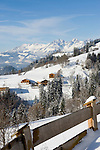 Austria, Tyrol, winter landscape near Kitzbuehel with Wilder Kaiser mountains