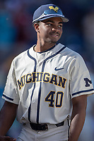 Michigan Wolverines pitcher Angelo Smith (40) before Game 1 of the NCAA College World Series Finals on June 24, 2019 at TD Ameritrade Park in Omaha, Nebraska. Michigan defeated Vanderbilt 7-4. (Andrew Woolley/Four Seam Images)