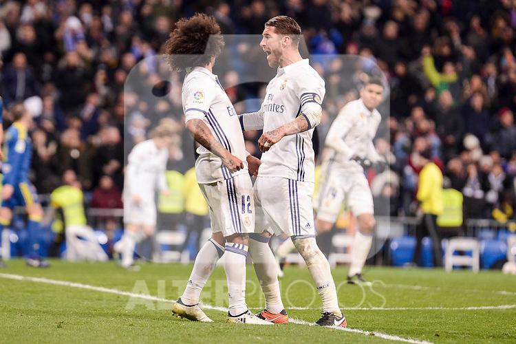 Real Madrid's Marcelo and Sergio Ramos during Copa del Rey match between Real Madrid and Celta de Vigo at Santiago Bernabeu Stadium in Madrid, Spain. January 18, 2017. (ALTERPHOTOS/BorjaB.Hojas)