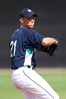 Seattle Mariners minor league pitcher Tyler Pike #21 poses for a photo after an instructional league game against the San Diego Padres at the Peoria Sports Complex on October 6, 2012 in Peoria, Arizona.  (Mike Janes/Four Seam Images)