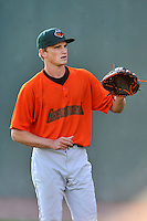 Pitcher Phil Bickford (37) of the Augusta GreenJackets warms up before a game against the Greenville Drive on Wednesday, May 4, 2016, at Fluor Field at the West End in Greenville, South Carolina. Greenville won, 6-3. (Tom Priddy/Four Seam Images)