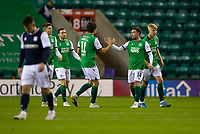 15th November 2020; Easter Road, Edinburgh, Scotland; Scottish League Cup Football, Hibernian versus Dundee FC; Stevie Mallan of Hibernian is congratulated by Joe Newell  after scoring for 1-0 in the 9th minute