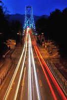 Lions Gate Bridge at night taken from Stanley Park.