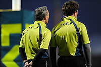Assistant referees during the LV= Cup match between Exeter Chiefs and Bath Rugby at Sandy Park Stadium on Sunday 5th February 2012 (Photo by Rob Munro)