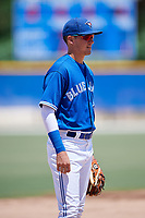 GCL Blue Jays third baseman Jordan Groshans (10) during a game against the GCL Phillies West on August 7, 2018 at Bobby Mattick Complex in Dunedin, Florida.  GCL Blue Jays defeated GCL Phillies West 11-5.  (Mike Janes/Four Seam Images)
