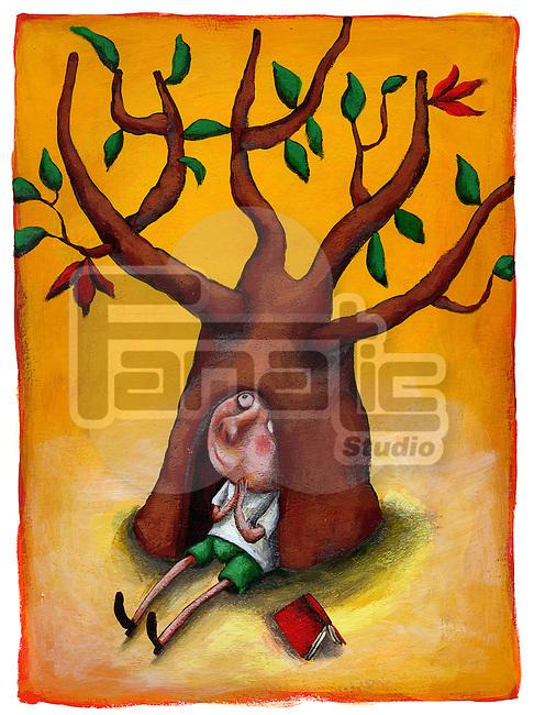 Illustrative image of schoolboy sitting under tree representing growth