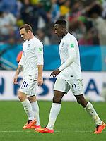 Wayne Rooney and Danny Welbeck of England look dejected