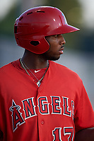 AZL Angels Trent Deveaux (17) on deck during a game against the AZL Giants Orange at Giants Baseball Complex on June 17, 2019 in Scottsdale, Arizona. AZL Giants Orange defeated AZL Angels 8-4. (Zachary Lucy/Four Seam Images)