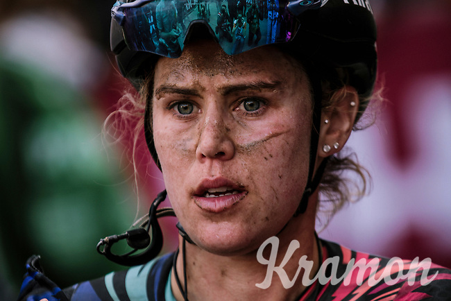 Tiffany Cromwell (AUS/Canyon-SRAM) looking a wee bit dazed after finishing the 5th Strade Bianche WE (1.WWT)<br /> <br /> One day race from Siena to Siena (136km)<br /> <br /> ©JojoHarper for kramon