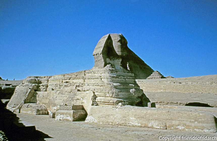the Sphinx of Giza is a limestone statue of a reclining sphinx, a mythical creature with the body of a lion and the head of a human. Facing directly from West to East, it stands on the Giza Plateau on the west bank of the Nile in Giza, Egypt.