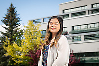 AHAINA Student of Excellence Quacyya Cuaresma photographed on Cuddy Quad outside Rasmuson Hall.