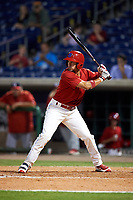 Clearwater Threshers Herlis Rodriguez (27) at bat during the second game of a doubleheader against the Palm Beach Cardinals on April 13, 2017 at Spectrum Field in Clearwater, Florida.  Palm Beach defeated Clearwater 1-0.  (Mike Janes/Four Seam Images)