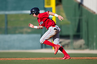 Mickey Moniak (22) of the Lakewood BlueClaws takes off for second base against the Kannapolis Intimidators at Kannapolis Intimidators Stadium on April 9, 2017 in Kannapolis, North Carolina.  The BlueClaws defeated the Intimidators 7-1.  (Brian Westerholt/Four Seam Images)