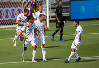LOS ANGELES, CA - AUGUST 22: Ethan Zubak #29 of the Los Angeles Galaxy celebrates his goal during a game between Los Angeles Galaxy and Los Angeles FC at Banc of California Stadium on August 22, 2020 in Los Angeles, California.
