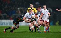 Friday 1st November 2019 | Ulster Rugby vs Zebre Rugby<br /> <br /> Kieran Treadwell is tackled by George Biagi and Maxime Mbandà during the PRO14 Round 5 clash between Ulster Rugby and Zebre Rugby at Kingspan Stadium, Ravenhill Park, Belfast, Northern Ireland. Photo by John Dickson / DICKSONDIGITAL