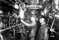 Engine room of an oil-burning German submarine.  German Official.  (War Dept.)<br /> Exact Date Shot Unknown<br /> NARA FILE #:  165-GB-2146<br /> WAR & CONFLICT BOOK #:  489