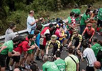 up the gruelling last climb Alto de Arraiz (up to 25% gradients!), 7km from the finish <br /> <br /> Stage 12: Circuito de Navarra to Bilbao (171km)<br /> La Vuelta 2019<br /> <br /> ©kramon