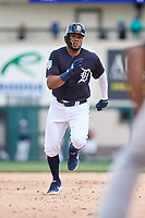 Detroit Tigers third baseman Jeimer Candelario (46) runs the bases during a Grapefruit League Spring Training game against the New York Yankees on February 27, 2019 at Publix Field at Joker Marchant Stadium in Lakeland, Florida.  Yankees defeated the Tigers 10-4 as the game was called after the sixth inning due to rain.  (Mike Janes/Four Seam Images)