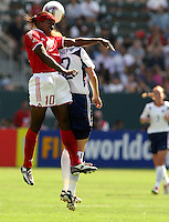 Charmaine Hooper(Can) vs Cindy Parlow(USA); Women's World Cup 3rd/4th place match, USA vs Canada, Carson California