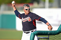 Mississippi Braves coach Rich Dubee (30) during batting practice before a game against the Montgomery Biscuits on April 21, 2014 at Riverwalk Stadium in Montgomery, Alabama.  Montgomery defeated Mississippi 6-2.  (Mike Janes/Four Seam Images)