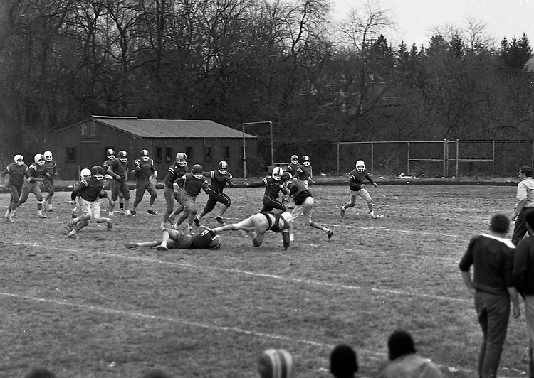 Bethel Park PA:  Bethel Recreation Football League's Chamber of Commerce Football team.  We played all the games at the Senior High Football Field. Mike Stewart tackled just before breaking it.<br /> Team members include; John Rassmussen, Mike Stewart, Scott Streiner, Fred Griffin, Rick Matthews, Joe Fredley, Bruce Mahoney, Coaches Frank Feeney and Jim Mahoney.  Mr Chris, Director of the Recreation League was also the referee.