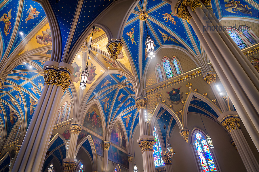 April 13, 2017; Ceiling of the Basilica of the Sacred Heart during Holy Thursday Mass. (Photo by Matt Cashore/University of Notre Dame)