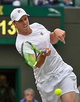 London, England, 2 July, 2016, Tennis, Wimbledon, Sam Querrey (USA) defeats Novak Djokovic (SRB)<br /> Photo: Henk Koster/tennisimages.com