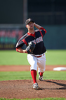Batavia Muckdogs pitcher Brett Lilek (32) delivers a pitch during the first game of a doubleheader against the Vermont Lake Monsters August 11, 2015 at Dwyer Stadium in Batavia, New York.  Batavia defeated Vermont 6-0.  (Mike Janes/Four Seam Images)
