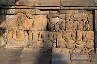 Borobudur, Java, Indonesia.    Bas-relief Stone Carving, Buddha Seeking Enlightenment, North Face of the Temple.